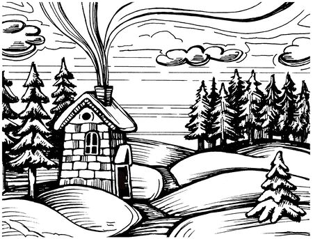 Hand drawing sketch of winter landscape Zdjęcie Seryjne