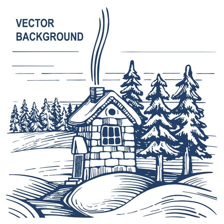Stone house in winter forest Ilustracja