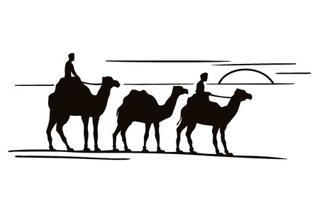 Three camels silhouettes in caravan