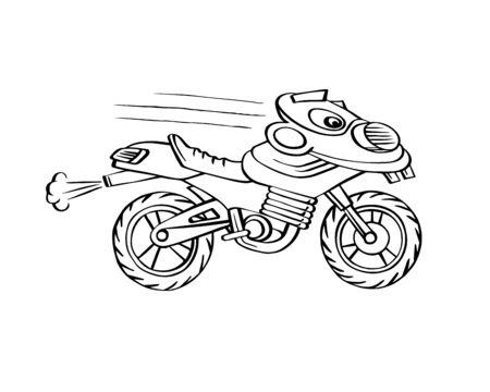 Funny kids motorcycle line art