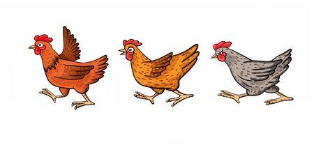 Three funny cartoon chickens Zdjęcie Seryjne