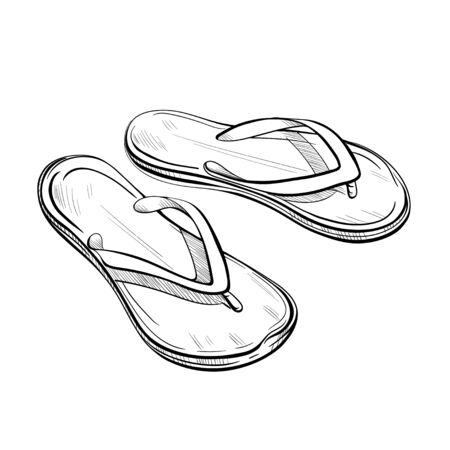 Sketch flip flop, beach slippers illustration, drawing, engraving, ink, line art, vector Vettoriali