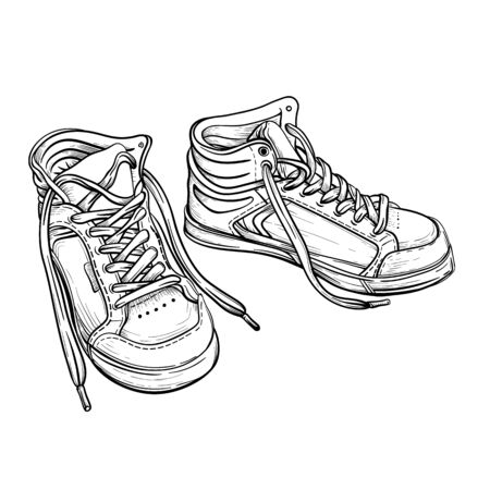 Hand drawn sketch sneakers. Vector illustration. A pair of sports shoes, a contour line art isolated on a white background. Vettoriali