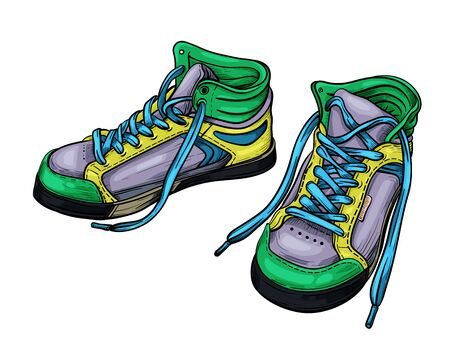 Hand drawn sketch green sneakers. Vector illustration. A pair of sports color shoes isolated on a white background.