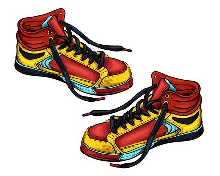 Hand drawn sketch red-yellow sneakers. Vector illustration. A pair of sports color shoes isolated on a white background.
