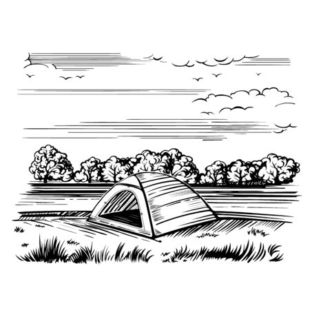 Camping tent for tourism, cartoon sketch illustration of travel equipment. Vector is hand-drawn isolated on a white background.