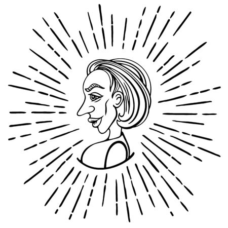 Female profile in doodle style