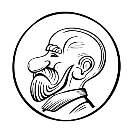 Vector illustration of a bald old man. Avatar portrait face. Hand drawn man with a beard.