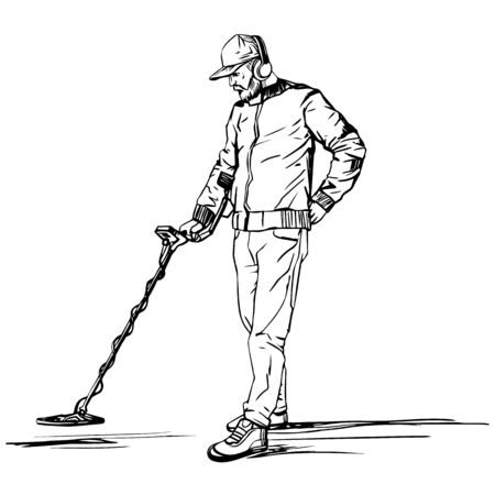 A man searches for treasures with a metal detector. A vector sketch drawn by hand against a white background. Vettoriali