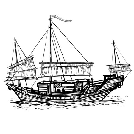 Chinese sailing vessel with lowered sailing