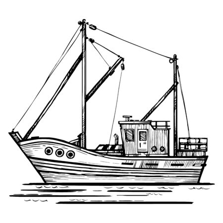 Fishing boat vector sketch hand-drawn illustration