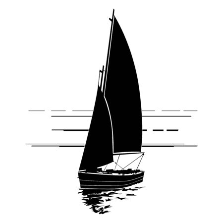 Sailing boat silhouette on waves