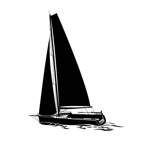 Isolated of sailboats silhouette illustration. Sailing yacht sails on waves. Vettoriali