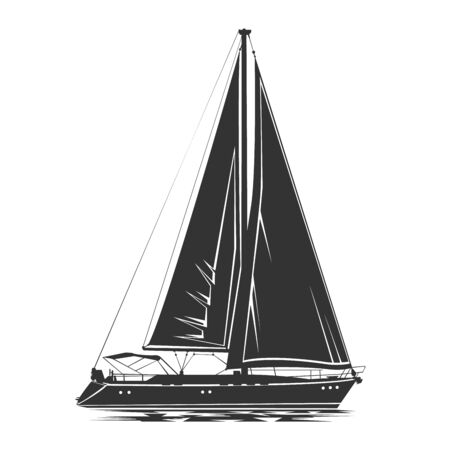Sailing yacht vector silhouette Vettoriali