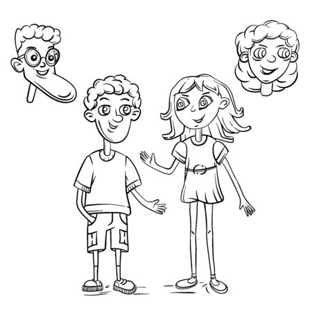 Cute boy and girl drawn characters outline vector Vettoriali