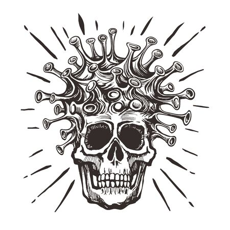 COVID-19 - virus - human skull hand drawn black sketch.