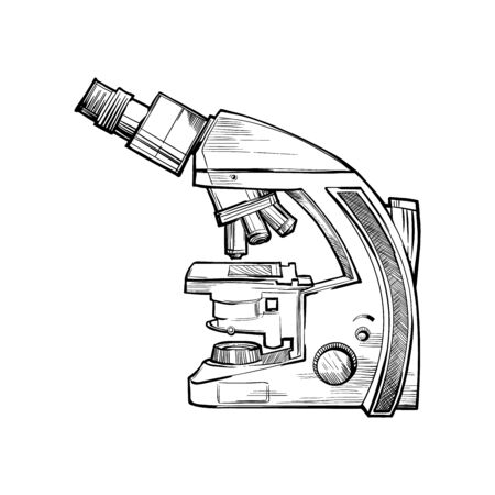 Laboratory microscope sketch vector. Doodle style illustration on a white background.