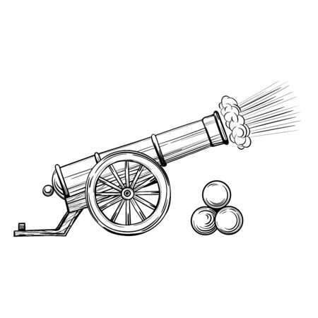 An ancient cannon with gun cores. Gunshot, sketch vector isolated on white background.