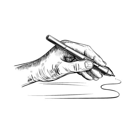The left-hand holds the stylus for drawing on the graphic tablet. Hand-drawn sketch vector.