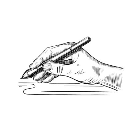 hand holds the stylus for drawing on the graphic tablet Archivio Fotografico - 148327350