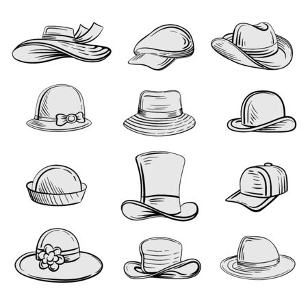 Man and woman hats set vector Vettoriali