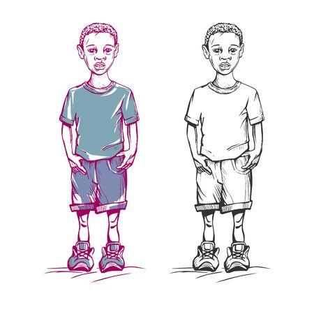 Sketch colored African-American boy Archivio Fotografico - 148816011