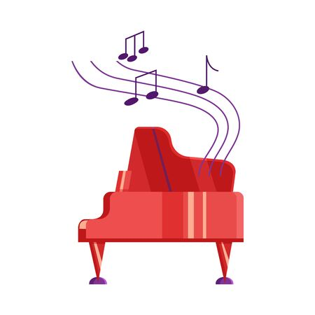 Red piano and musical notes on white background