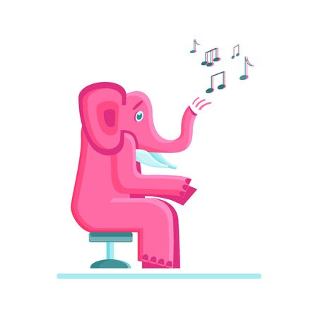 Pink elephant and musical notes