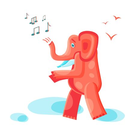 Orange elephant goes and sings
