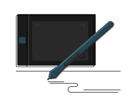 Graphic tablet and and Stylus detailed icon vector graphic illustration