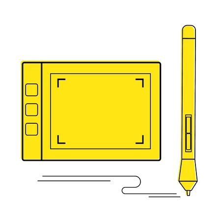 Graphic tablet and and Stylus icon vector graphic illustration Vettoriali