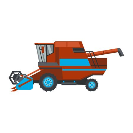 Red combine harvester flat style icon isolated on white background, vector illustration.