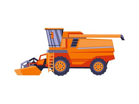 Agriculture combine harvester isolated vector illustration. Farm equipment machinery and the agricultural vehicle in flat design.