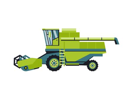 Harvesting machine combine, isolated on white background flat style icon.