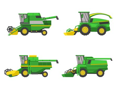 Green harvesting machine agricultural vehicles harvesting combine set, vector isolated on white background flat style icon