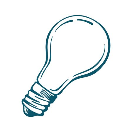 Vector Light bulb icon blue isolated on white background