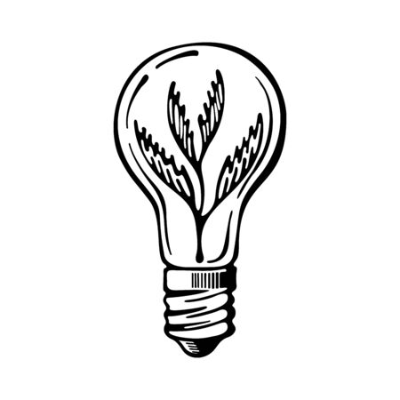 Green eco energy concept, plant growing inside the light bulb. Hand-drawn icon vector isolated on white background