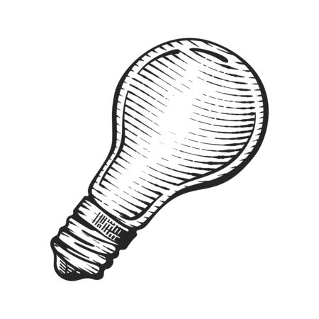 light bulb vintage engraved illustration, hand-drawn old sketch in style.