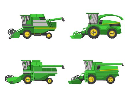 Harvesting combine set, vector isolated on white background flat style icon Vettoriali