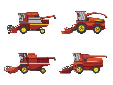 Harvesting combine set, vector isolated on white background flat style icon.
