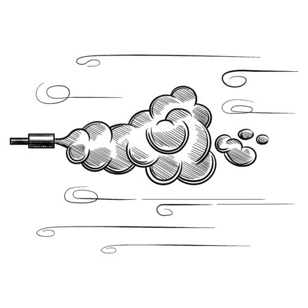 Smoke from the exhaust pipe of the car, sketch. Hand-drawn sketch vector isolated on white background.