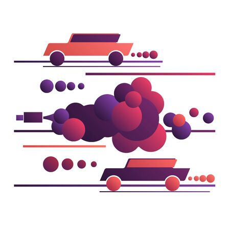 Cars in toxic clouds of exhaust. Environmental pollution by car exhaust gases, poisoned air. Traffic jam and black smoke, smog. Vector illustration, flat design