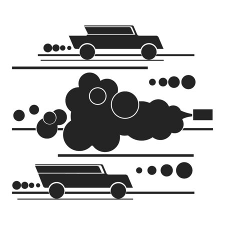 Motor transport exhaust gases and ecology silhouette flat style, vector isolated on white background Vettoriali