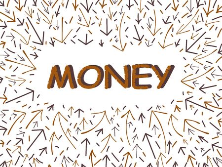 Word money and arrows doodle on a white background. The concept for the business idea, startup, and innovation technology Vettoriali