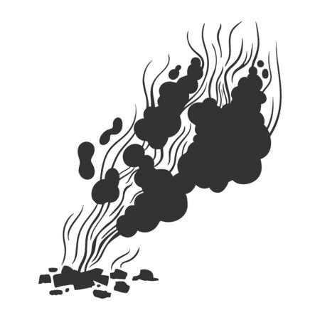 Monochrome silhouette sketch style illustration of a bonfire and smoke clubs. Hand-drawn illustration for design isolated on white, Archivio Fotografico - 148482386