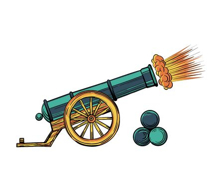 An ancient cannon with gun cores. Gunshot cartoon vector isolated on white background