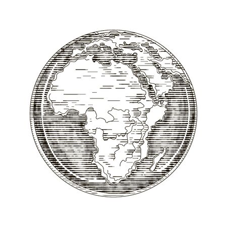 Globe outline drawing. Africa continent. Vector illustration engraving style on white background