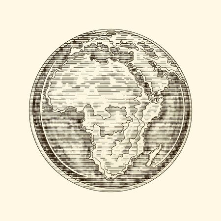 Globe Earth Africa a continent. Vintage vector engraving illustration. Hand drawn design element isolated Vettoriali