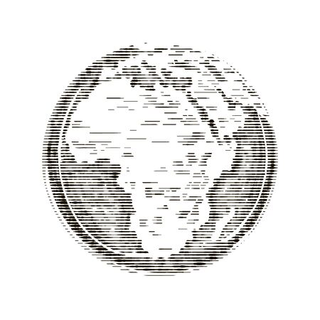 Vector engraved style illustration for posters, decoration, and print. Hand-drawn of the globe in monochrome isolated on white background Vettoriali