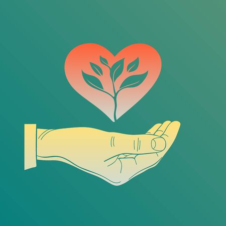 Flat vector heart in hand a sprout, illustration icon for Care, Protection, Charity, or Donation.